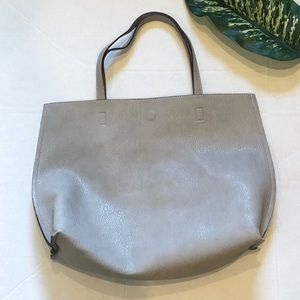 NORDSTROM grey/white large tote with pouch